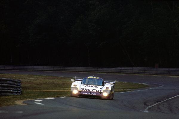Le Mans, France. 16th - 17th June 1990. John Nielsen/Price Cobb/Eliseo Salazar/Martin Brundle (Jaguar XJR-12), 1st position, action.   World Copyright: LAT Photographic. Ref:  90LM