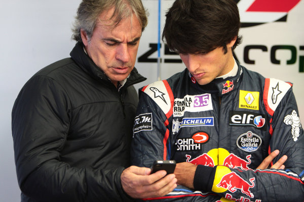 Spa-Francorchamps (BEL) May 31 - June 2 2013 - Second Round of the World Series by Renault 2013 at Citcuit Spa Francorchamps. Carlos Sainz Jr. #23 Zeta Corse together with his father Carlos Sainz. Portrait. © 2013 Sebastiaan Rozendaal / Dutch Photo Agency / LAT Photographic
