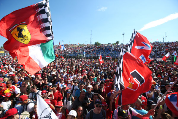Hungaroring, Budapest, Hungary.  Sunday 30 July 2017. Ferrari fans celebrate after the race. World Copyright: Coates/LAT Images  ref: Digital Image AN7T9713
