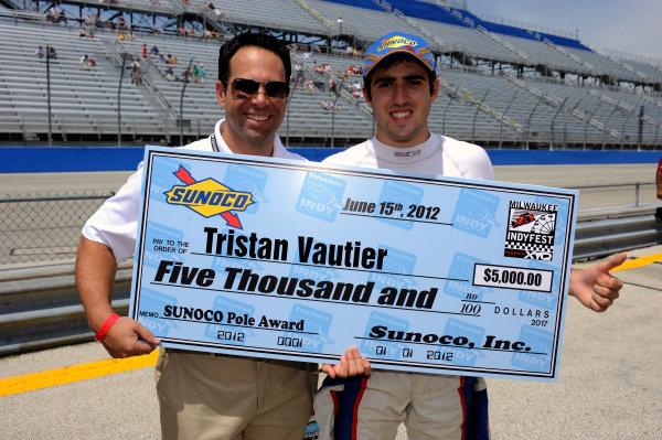 15 June, 2012, West Allis, Wisconsin USAPolewinner Tristan Vautier (#77) receives the Pole Award(c)2012, F. Peirce WilliamsLAT Photo USA
