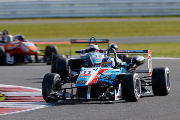 FIA F3 European Championship - Round 1, Race 3. Silverstone, Northamptonshire, UK 10th - 12th April 2015 11 Fabian Schiller (DEU, Team West-Tec F3, Dallara F312 – Mercedes-Benz), 38 Raoul Hyman (ZAF, Team West-Tec F3, Dallara F312 - Mercedes-Benz). Copyright Free FOR EDITORIAL USE ONLY. Mandatory Credit: FIA F3. ref: Digital Image FIAF3-1428842380