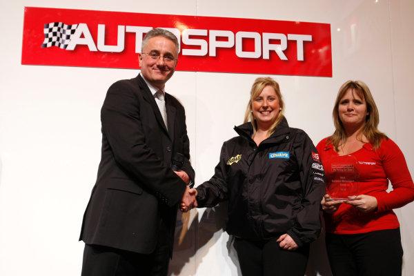 NEC, Birmingham. 15th January 2010.Ian France of Haymarket presents the Best national Motorsport Stand award to MSA British Rally Cross Championship.World Copyright: Alastair Staley/LAT Photographicref: Digital Image _O9T1326