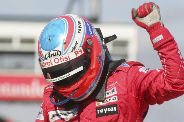 2007 GP2 Series Round 5. Silverstone, England. 8th July 2007. Sunday Race.Adam Carroll (GBR, Petrol Ofisi FMS International) celebrates victory. World Copyright: Alastair Staley/GP2 Series Media Service.ref: Digital Image IMG_2490