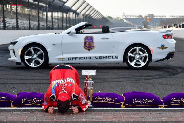 22-24 July, 2016, Indianapolis, Indiana USA Kyle Busch, Skittles Toyota Camry kisses the bricks ?2016, Logan Whitton  LAT Photo USA