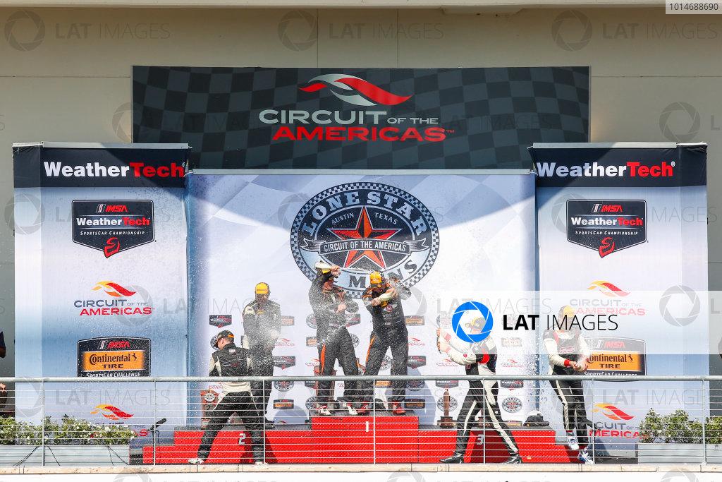 14-16 September 2016, Austin, Texas USA , 93, Honda, Civic Si, ST, Chad Gilsinger, 56, Porsche, Cayman, ST, Jeff Mosing, Eric Foss, 99, Aston Martin, Vantage, GS, Rob Ecklin, podium, champagne ?2016, Jake Galstad LAT Photo USA