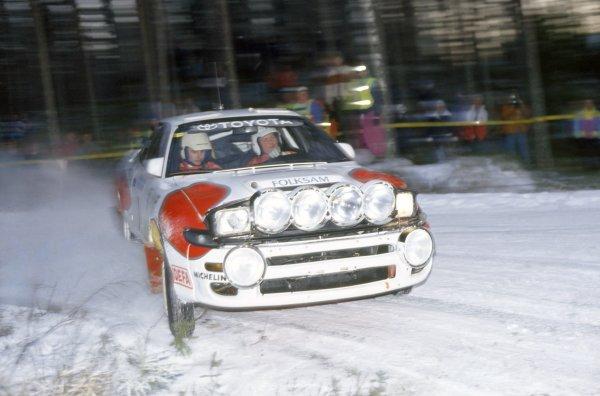 1993 World Rally Championship.Swedish Rally, Sweden. 12-14 February 1993.Mats Jonsson/Lars Backman (Toyota Celica Turbo 4WD), 1st position.World Copyright: LAT PhotographicRef: 35mm transparency 93RALLY02