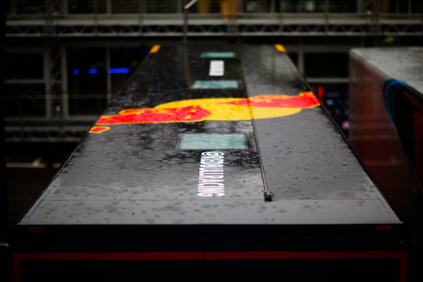 Circuit de Catalunya, Barcelona, Spain. Thursday 11 May 2017. Rain falls on the Red Bull Racing transporter in the paddock. World Copyright: Andy Hone/LAT Images ref: Digital Image _ONY2890