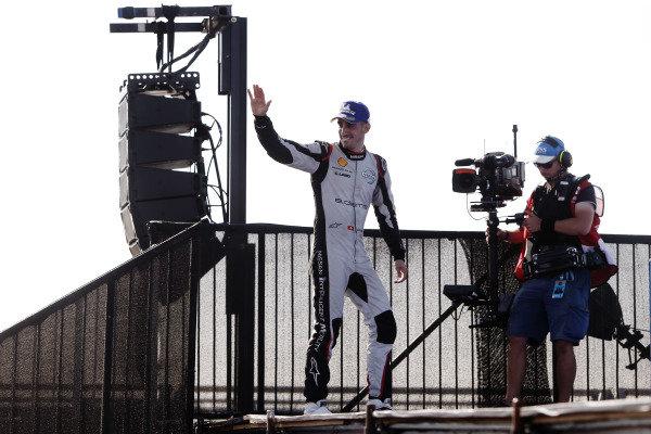 Sébastien Buemi (CHE), Nissan e.Dams, Nissan IMO1, celebrates on the podium