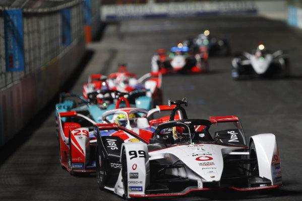Pascal Wehrlein (DEU) Tag Heuer Porsche, Porsche 99X Electric, leads Alexander Sims (GBR) Mahindra Racing, M7Electro, and Mitch Evans (NZL) Panasonic Jaguar Racing, Jaguar I-Type 5
