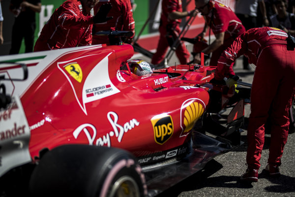 Sebastian Vettel (GER) Ferrari SF70-H on the grid at Formula One World Championship, Rd17, United States Grand Prix, Race, Circuit of the Americas, Austin, Texas, USA, Sunday 22 October 2017.