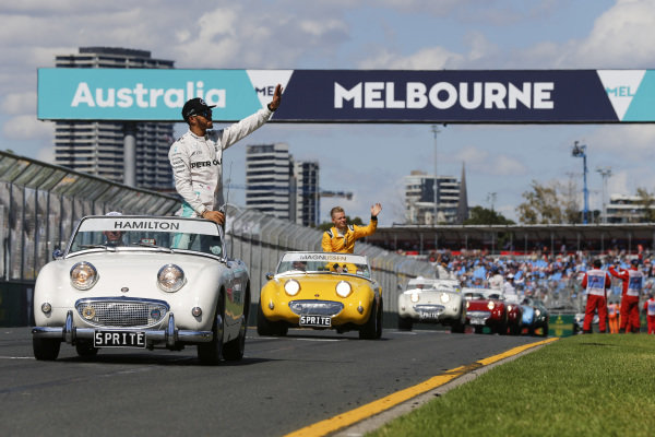 Lewis Hamilton (GBR) Mercedes AMG F1 at the drivers parade at Formula One World Championship, Rd1, Australian Grand Prix, Race, Albert Park, Melbourne, Australia, Sunday 20 March 2016.