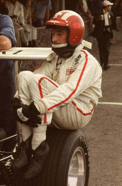 Formula 1 World Championship.Jo Siffert sitting on a tyre.Ref-S6A 01.World - LAT Photographic