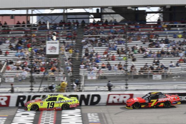 #19: Brandon Jones, Joe Gibbs Racing, Toyota Supra Menards/Atlas, #7: Justin Allgaier, JR Motorsports, Chevrolet Camaro BRANDT