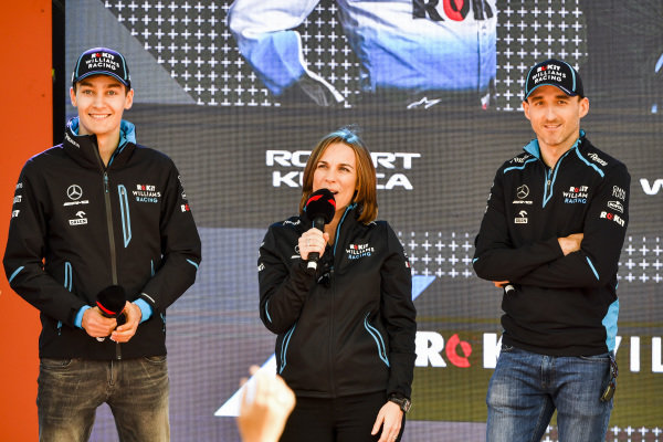 George Russell, Williams, Claire Williams, Deputy Team Principal, Williams Racing and Robert Kubica, Williams Racing at the Federation Square event.