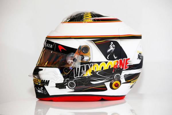 Spa Francorchamps, Belgium.  Thursday 24 August 2017. Stoffel Vandoorne, McLaren, crash helmet detail, showing a new design for his home grand prix. World Copyright: Andy Hone/LAT Images  ref: Digital Image _ONY3061