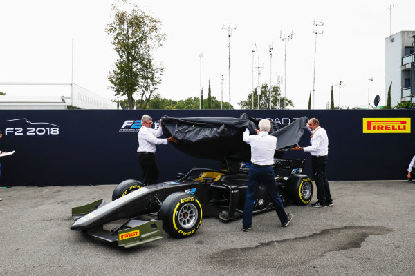 Autodromo Nazionale di Monza, Italy. Thursday 31 August 2017 The new F2 car is unveiled in the paddock. Photo: Zak Mauger/FIA Formula 2 ref: Digital Image _56I5211