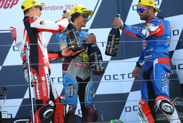 2017 Moto2 Championship - Round 12 Silverstone, Northamptonshire, UK. Sunday 27 August 2017 Podium: race winner Takaaki Nakagami, Idemitsu Honda Team Asia, second place Mattia Pasini, Italtrans Racing Team, third place Franco Morbidelli, Marc VDS World Copyright: Gold and Goose / LAT Images ref: Digital Image 689741