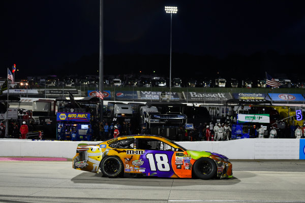 Monster Energy NASCAR Cup Series First Data 500 Martinsville Speedway, Martinsville VA USA Sunday 29 October 2017 Kyle Busch, Joe Gibbs Racing, M&M's Halloween Toyota Camry waits to enter victory lane after the win World Copyright: Scott R LePage LAT Images ref: Digital Image lepage-171029-mart-8527