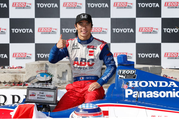 19-21 April, 2013, Long Beach, California, USA Winner Takuma Sato in Victory Lane © 2013, Michael L. Levitt LAT Photo USA.