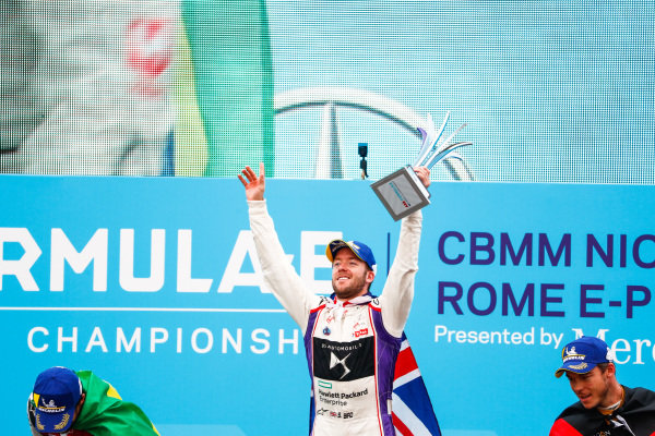 Sam Bird (GBR), DS Virgin Racing, DS Virgin DSV-03, ,wins the Rome ePrix, with Lucas Di Grassi (BRA), Audi Sport ABT Schaeffler, Audi e-tron FE04, in 2nd and Andre Lotterer (BEL), TECHEETAH, Renault Z.E. 17, in 3rd.