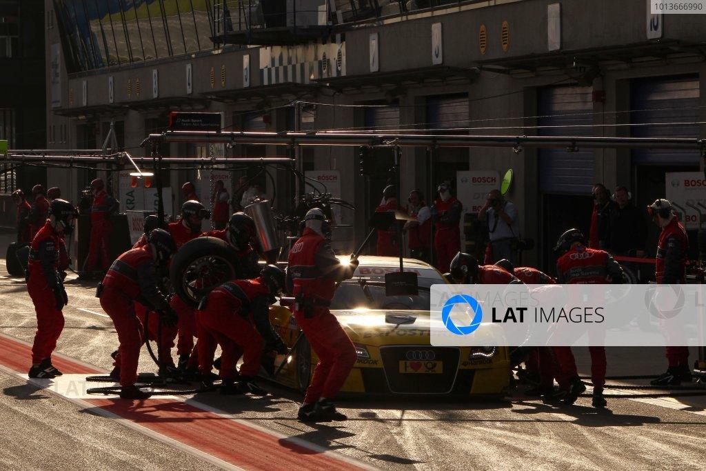 Mike Rockenfeller (GER), Audi Sport Team Abt Sportsline, E-POSTBRIEF Audi A4 DTM (2009), makes a pit stop.DTM, Rd8, Oschersleben, Germany, 16-18 September 2011 Ref: Digital Image dne1117se609
