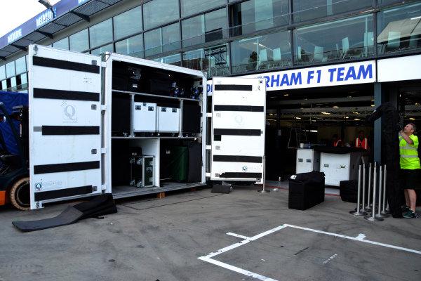 Caterham F1 Team garage and freight.Formula One World Championship, Rd1, Australian Grand Prix, Preparations, Albert Park, Melbourne, Australia, Monday 11 March 2013.