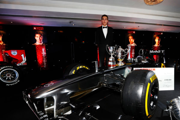 2014 Autosport Awards. Grosvenor House Hotel, Park Lane, London. Sunday 7 December 2014. George Russell wins the 2014 McLaren AUTOSPORT BRDC Award. World Copyright: Sam Bloxham/LAT Photographic. ref: Digital Image _14P4035