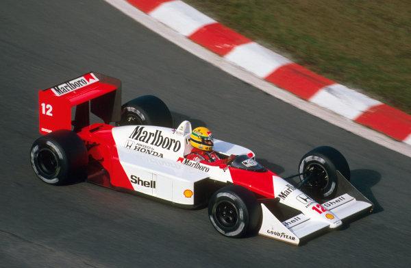 Spa-Francorchamps, Belgium.26-28 August 1988.Ayrton Senna (McLaren MP4/4 Honda) 1st position.Ref-88 BEL 10.World Copyright - LAT Photographic