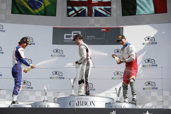 Jake Hughes (GBR, ART Grand Prix) Pedro Piquet (BRA, Trident) and Leonardo Pulcini (ITA, Campos Racing)
