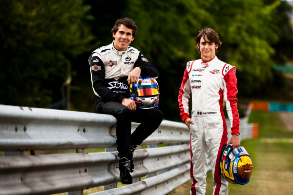 Round 6.Hungaroring, Budapest, Hungary. 29th July 2010. Thursday Preview.Robert Wickens, (CAN, Status Grand Prix) and Esteban Gutierrez, (MEX, ART Grand Prix) winners of races 9 and 10 in the GP3 series at Hockenheim. Portrait. World Copyright: Drew Gibson/GP3 Media Service. Digital Image _Y2Z0912