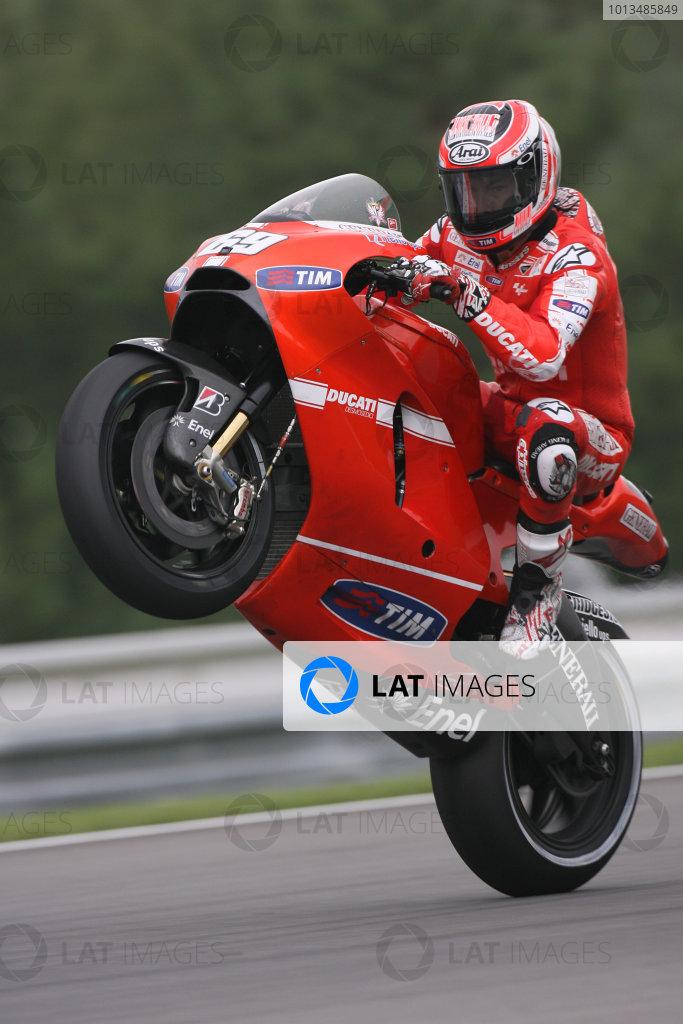 Czech Republic Brno 13-15 August 2010Nicky Hayden wheelies his Ducati Desmoscedici