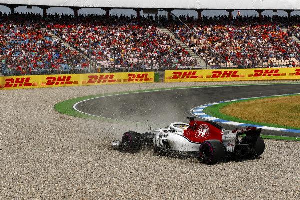 Marcus Ericsson, Sauber C37 Ferrari, spins into a gravel trap in qualifying.