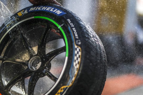 Tyres being cleaned
