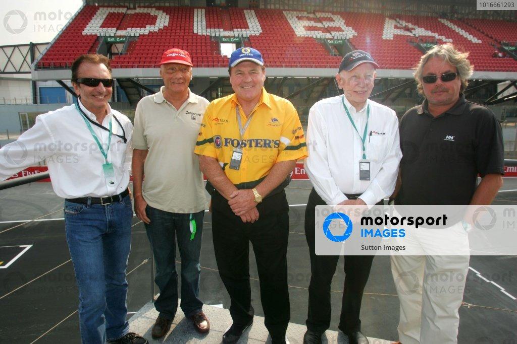 Emerson Fittipaldi (BRA) A1 Team Brazil Co-Seat Holder, Keke Rosberg (FIN) Niki Lauda (AUST) Alan Jones (AUS) and John Surtees (GBR) A1 Team Great Britain Chairman  A1 Grand Prix, Rd6, Dubai Autodrome, UAE, Qualifying Day, 10 December 2005. DIGITAL IMAGE