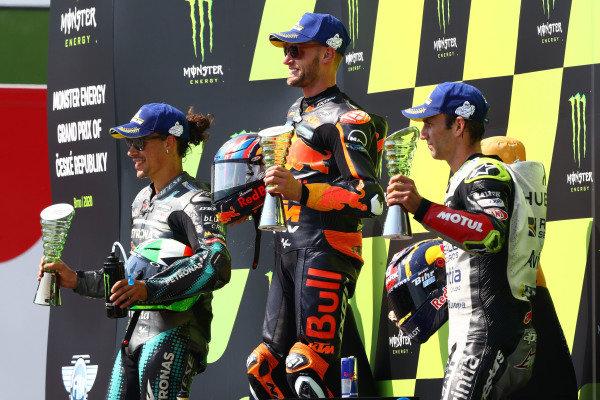 Podium: race winner Brad Binder, Red Bull KTM Factory Racing, second place Franco Morbidelli, Petronas Yamaha SRT, third place Johann Zarco, Avintia Racing.