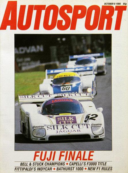 Cover of Autosport magazine, 9th October 1986