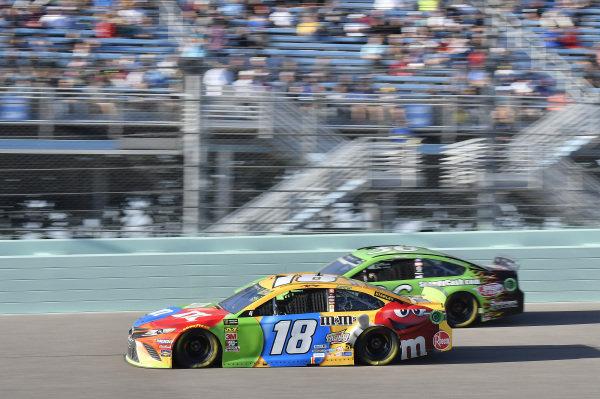 #18: Kyle Busch, Joe Gibbs Racing, Toyota Camry M&M's, #36: John Hunter Nemechek, Front Row Motorsports, Ford Mustang Speedy Cash