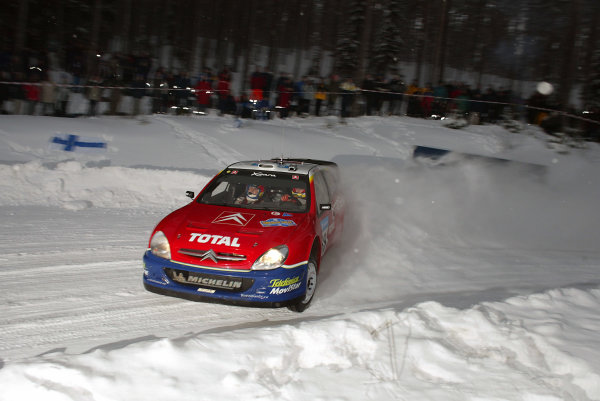 2003 FIA World Rally Championship. Karlstad, Sweden. Rd2.6-9 February 2003.Sebastien Loeb/Daniel Elena (Citroen Xsara) 7th position. World Copyright: McKlein/LAT Photographic