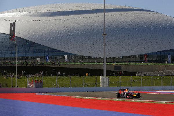 Sebastian Vettel (GER) Red Bull Racing RB10. Formula One World Championship, Rd16, Russian Grand Prix, Qualifying, Sochi Autodrom, Sochi, Krasnodar Krai, Russia, Saturday 11 October 2014.
