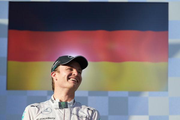 Albert Park, Melbourne, Australia. Sunday 16 March 2014. Nico Rosberg, Mercedes AMG, 1st Position, on the podium. World Copyright: Steve Etherington/LAT Photographic. ref: Digital Image SNE26350 copy