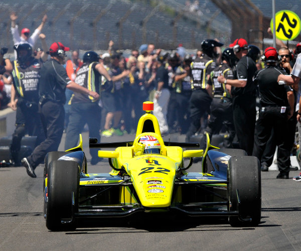 23 May, 2014, Indianapolis, Indiana, USA Sage Karam reacts to winning a round of the pit stop competition ©2014, Geoffrey M. Miller LAT Photo USA