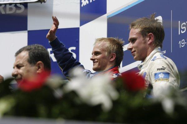 2005 GP2 Series - TurkeyIstanbul Park, IstanbulSunday Race 2Winner Heikki Kovalainen ( fin, Arden) and 2nd Adam Carroll (GB, Super Nova International). Podium Copyright: GP2 Series Media Service ref: Digital Image Only
