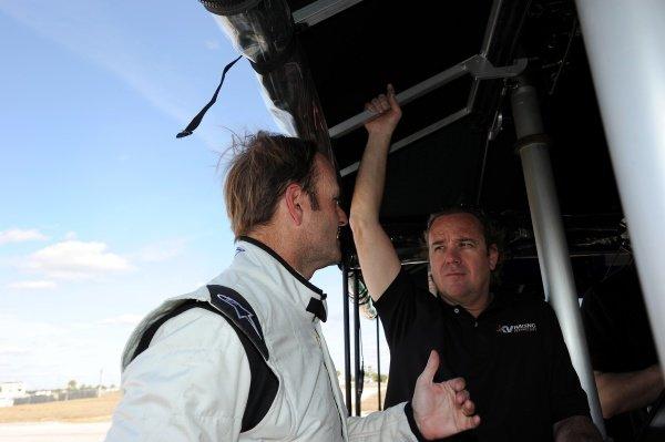 L-R: Rubens Barrichello (BRA) and KV Racing team boss Jimmy Vasser (USA). Rubens Barrichello IndyCar Test, Sebring, Florida, USA, Tuesday 31 January 2012.