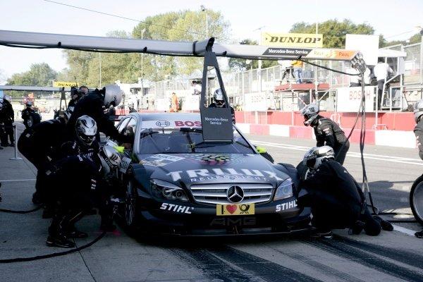 Ralf Schumacher (GER) Trilux AMG Mercedes C-Klasse (2009), makes his pit stop.DTM, Rd7, Brands Hatch, England, 5-6 September 2009.