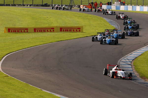 2016 BRDC F3 Championship, Donington Park, Leicestershire. 10th - 11th September 2016. Start of Race 3, Toby Sowery (GBR) Lanan Racing BRDC F3 leads. World Copyright: Ebrey / LAT Photographic.