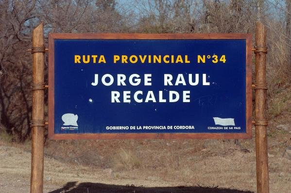 In memory of Jorge Recalde (ARG) the local people have dedicated the road to Mina Clavero, Ruta 34, in his name.World Rally Championship, Rd8, Rally of Argentina, Carlos Paz, Argentina, Day Three, 18 July 2004.DIGITAL IMAGE