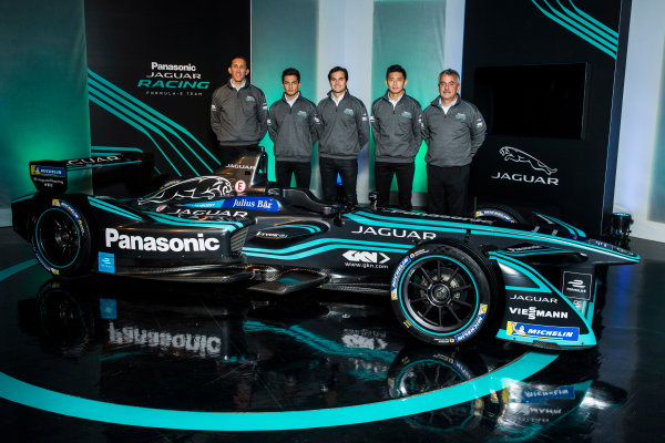 Panasonic Jaguar Racing RE:CHARGE LIVE EVENT Whitely Engineering Centre, Warwickshire, UK Thursday 21 September 2017. James Barclay (Team Director, Jaguar Racing), Mitch Evans, Nelson Piquet Jr, Ho-Pin Tung, and Gerd M?user (Chairman, Panasonic Jaguar Racing) Photo: Andrew Ferraro/LAT/Jaguar ref: Digital Image _FER7233