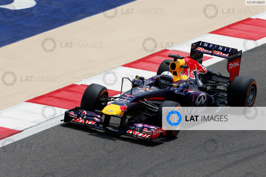 Bahrain International Circuit, Sakhir, Bahrain Friday 19th April 2013 Sebastian Vettel, Red Bull RB9 Renault.  World Copyright: Charles Coates/LAT Photographic ref: Digital Image _N7T0011