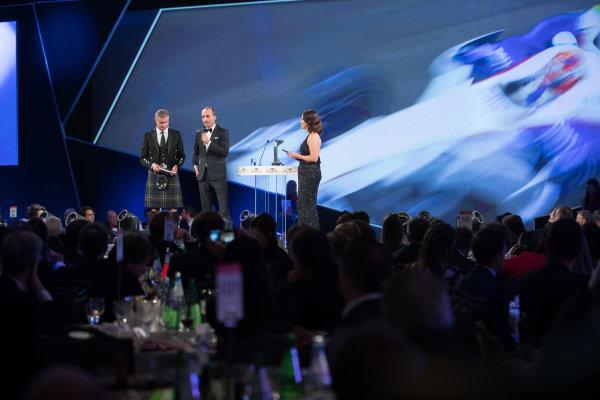 2017 Autosport Awards Grosvenor House Hotel, Park Lane, London. Sunday 3 December 2017. Robert Kubica on stage with Presenters David Coulthard, and Lee McKenzie. World Copyright: Zak Mauger/LAT Images  ref: Digital Image _O3I7091
