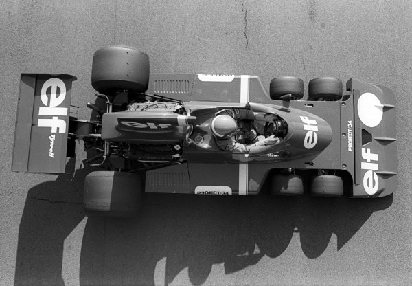 Patrick Depailler (FRA) tests the six-wheeled Tyrrell P34. Formula One World Championship, Silverstone, England, c. Late 1975.